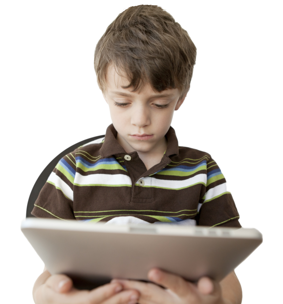 kid with ipad and full head